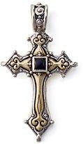 Konstantino Sterling and Bronze Black Onyx Cross Pendant
