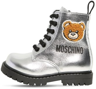 Moschino Metallic Leather Boots W/ Bear Patch