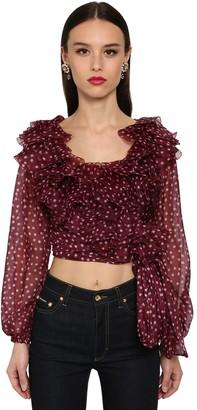 Dolce & Gabbana Cropped Organza Polka Dot Wrap Shirt