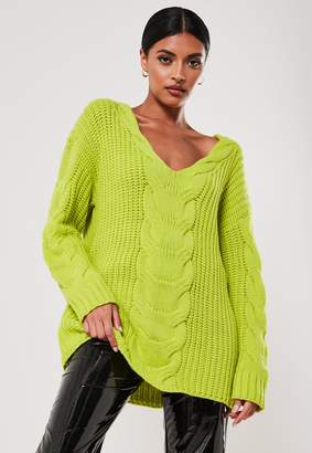 Missguided Lime Extreme V Neck Cable Knit Jumper