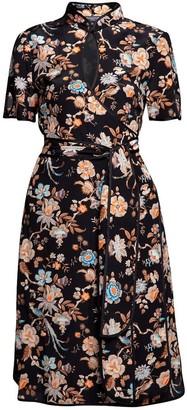 Rumour London Akiko Kimono-Style Silk Wrap Dress With Oriental Print In Black