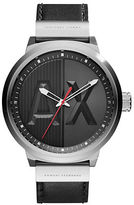 Armani Exchange AX1361 Stainless Steel Black Leather Strap Watch