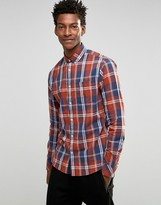 !solid Check Shirt With Button Down Collar