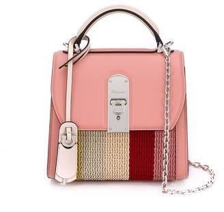 Salvatore Ferragamo Top-Handle Woven Panel Bag