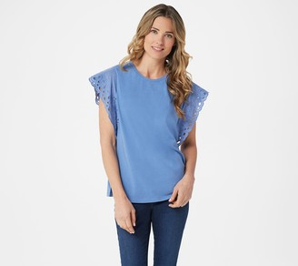 Belle By Kim Gravel TripleLuxe Knit Flutter Sleeve Lace Trim Top