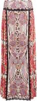 Just Cavalli Pleated printed chiffon maxi skirt