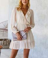 Amasoo Women's Casual Dresses apricot - Apricot Ruffle-Accent Long-Sleeve Surplice Dress - Women & Juniors
