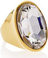 Kenneth Jay Lane Polished OvalCrystal Stone Ring- Gold
