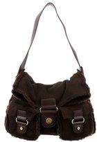 UGG Shearling-Trim Shoulder Bag
