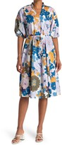 Thumbnail for your product : Sandra Darren Floral Short Sleeve Tie Waist Fit & Flare Dress