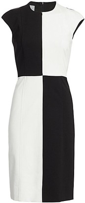 Akris Punto Colorblock Cap-Sleeve Sheath Dress