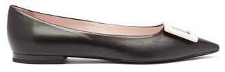 Roger Vivier Gommetine Point-toe Leather Ballet Flats - Black White