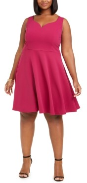 B. Darlin Trendy Plus Size Scuba Fit & Flare Dress
