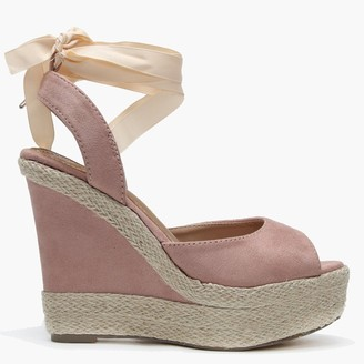 Df By Daniel Ribbie Pink Suedette Ribbon Tie Wedge Espadrilles