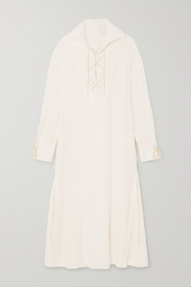 Ann Demeulemeester Lace-up Striped Gauze Dress - White