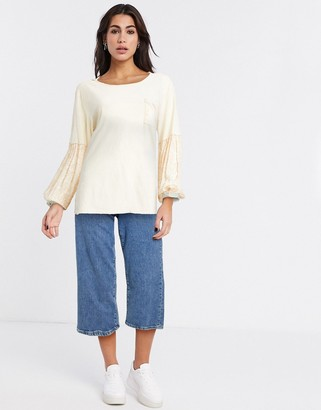 Free People jade long sleeve long sleeve t-shirt in cream