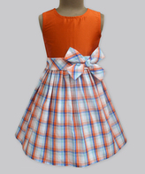 Orange & Popsicle Plaid Bow Dress - Infant Toddler & Girls