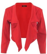 Forever Womens Plain Plus Size 3/4 Sleeves Waterfall Cropped Blazer Top