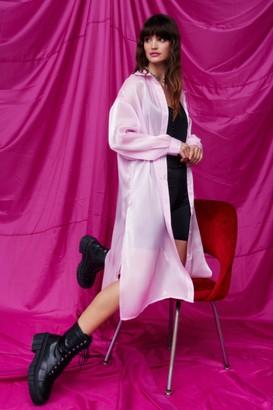 Nasty Gal Womens Sleek Now Organza Longline Shirt - Pink - 4