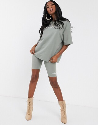 Couture The Club oversized motif t shirt in khaki