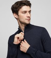Reiss Reiss Whitehall - Merino Zip Jumper In Blue, Mens