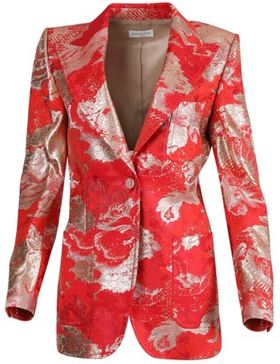 Dries Van Noten Red And Silver Brocade Tailored Blazer