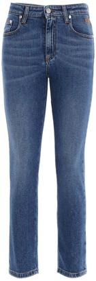 MSGM Logo Embellished Cropped Jeans