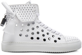 Buscemi 125MM Leather Round Hole Sneakers