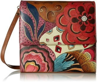 Anuschka Anna by Women's Genuine Leather Small Flap-Over Slim Cross Body | Hand Painted Original Artwork | Floral Paradise