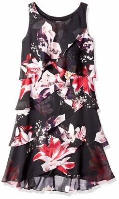 SL Fashions Women's Sleeveless Chiffon Tiered Cocktail Dress