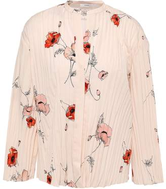 Vince Pleated Floral-print Crepe De Chine Blouse