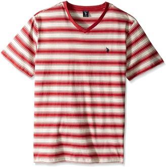 U.S. Polo Assn. Men's Big-Tall Short Sleeve Shadow Stripe V-Neck T-Shirt