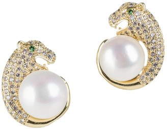 Cz By Kenneth Jay Lane Look Of Real Goldplated, 9MM Freshwater Pearl & Cubic Zirconia Stud Earrings