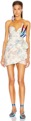 ATTICO Floral Strapless Mini Dress in White, Rose & Green | FWRD
