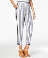 Amy Byer Juniors' Striped Contrast-Trim Soft Ankle Pants