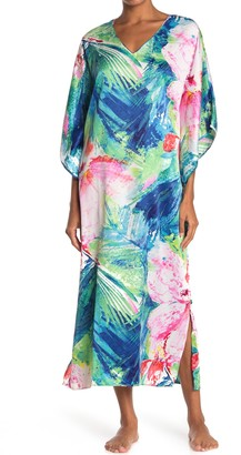 Natori Floral 3/4 Sleeve Caftan Nightgown