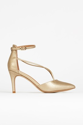 Wallis Gold Ankle Strap Pointed Shoe
