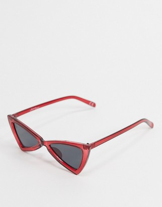 Jeepers Peepers angled cat eye sunglasses in red