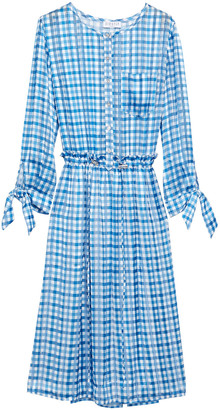 Claudie Pierlot Gathered Gingham Chiffon Dress