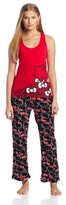 Hello Kitty Junior's Sweet Affection Bow Print Tank Pajama Set, Red/Black, Medium