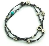 """MIZZE Made for Luck Jewelry Handmade Denim Blue & Silver Double Wrap Anklet for Good Luck - 10.5"""""""