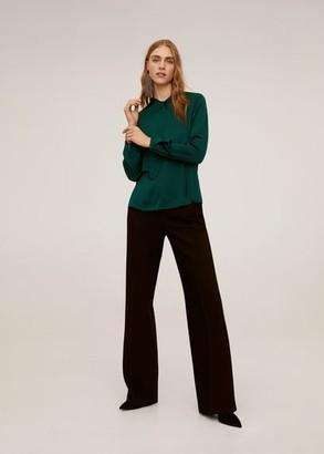 MANGO Knot detail blouse emerald green - 4 - Women
