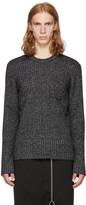 Maison Margiela Black and Off-white Ribbed Sweater