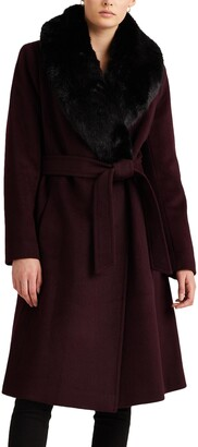 Lauren Ralph Lauren Wool Blend Belted Wrap Coat with Faux Fur Collar