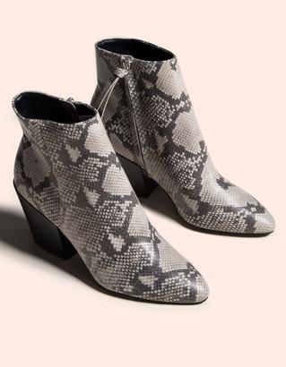 Dolce Vita Perilla Snake Block Heel Black & White Womens Booties