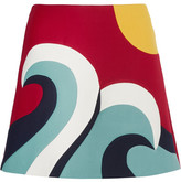 RED Valentino Color-block Cotton-blend Crepe Mini Skirt