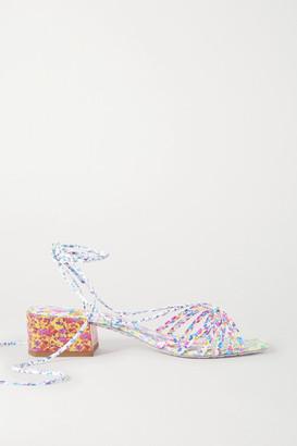 Sophia Webster Laurellie Floral-print Leather Sandals - Blue