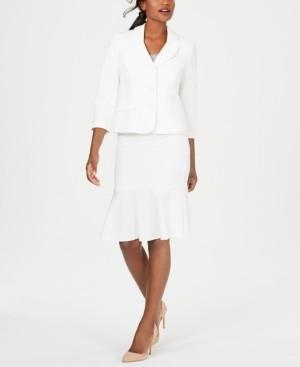 Le Suit Three-Button Crepe Skirt Suit