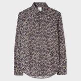 Men's Slim-Fit Black 'Illustrated Floral' Print Cotton Shirt