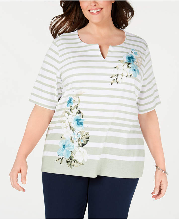 Karen Scott Plus Size Split-Neck Mixed-Print Top